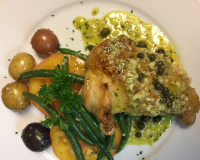 Roasted Pollo Saffron Capers, white Balsamic sauce